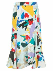 Prabal Gurung ruffled printed midi skirt - Blue
