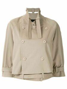 Gloria Coelho double breasted cropped coat - NEUTRALS