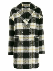 LIU JO brushed double-breasted tartan coat - Black