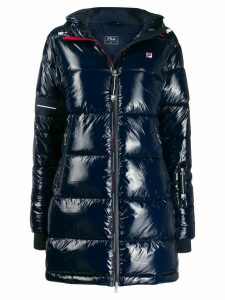 Fila logo-patch padded raincoat - Blue
