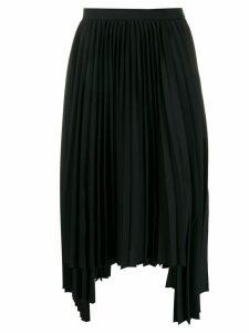 Juun.J asymmetric pleated skirt - Black