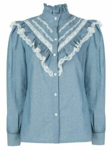 Petersyn Almira Chambray Lace Top - Blue
