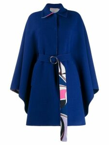 Emilio Pucci oversized wool belted coat - Blue