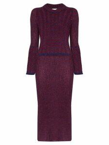 ASAI striped panel knit dress - PURPLE