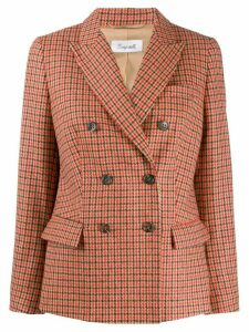 Brag-wette houndstooth double-breasted blazer - Red