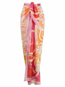 Emilio Pucci abstract print knotted waist skirt - Orange