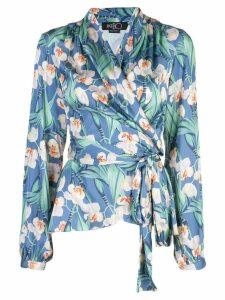 Patbo floral wrap blouse - Blue