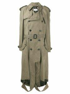Maison Margiela ripped hem trench coat - NEUTRALS