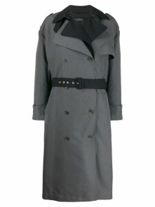 Rokh layered double-breasted trench coat - Blue