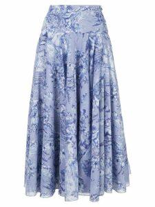 Samantha Sung womens chambray/blue midi A- line skirt