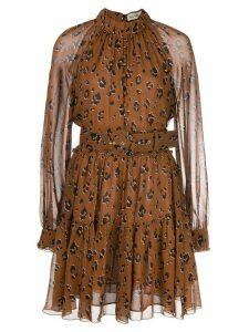 Nicholas leopard print flared dress - Brown