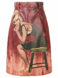 Prada pin up print midi skirt - Red