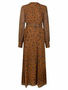 Nicholas floral print belted dress - Brown