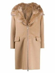 S.W.O.R.D 6.6.44 fur-trimmed hooded coat - Brown