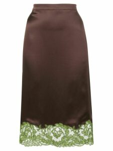 Versace lace-trimmed slip skirt - Brown