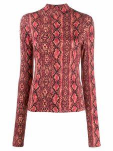 Andamane Beth snakeskin-print top - Red