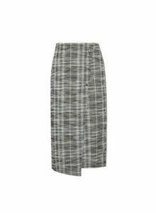 Womens Black Boucle Pencil Skirt, Black