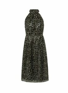 Womens Petite Black Foil Halterneck Dress, Black
