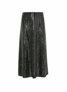Womens Black Sparkle Midi Skirt, Black