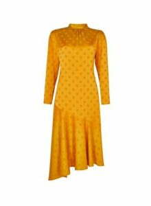 Womens Yellow Spot Print Jacquard Satin Look Midi Dress- Orange, Orange