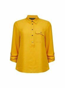 Womens Yellow Roll Sleeve Shirt- Orange, Orange