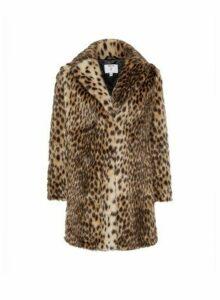 Womens Petite Animal Print Long Lined Faux Fur Coat- Brown, Brown