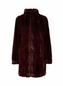 Womens Berry Red Longline Faux Fur Coat, Red