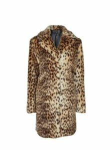 Womens Brown Leopard Print Faux Fur Coat, Brown