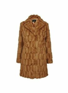 Womens Brown Squiggle Faux Fur Coat, Brown