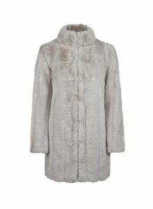 Womens Petite Grey Pelted Faux Fur Coat, Grey