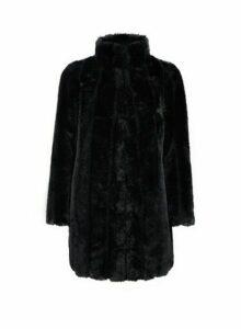Womens Petite Black Pelted Faux Fur Coat, Black