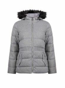 Womens Grey Short Padded Coat, Grey