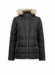 Womens Black Short Padded Coat, Black