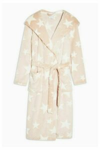 Womens Nude Star Print Long Dressing Gown - Nude, Nude