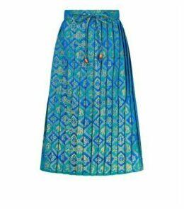 Nesavaali Blue Metallic Jacquard Pleated Midi Skirt New Look
