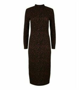 JDY Rust Leopard Print Long Sleeve Midi Dress New Look