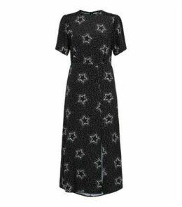 Black Star Print Side Split Midi Dress New Look