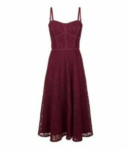 Burgundy Lace Strappy Midi Dress New Look