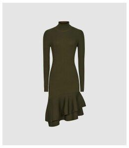 Reiss Finn - Ruffle Hem Knitted Dress in Green, Womens, Size XL