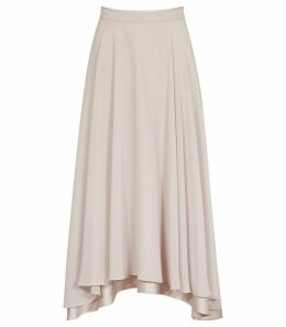Reiss Spence - Asymmetric Midi Skirt in Ash, Womens, Size 16