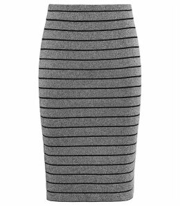 Reiss Hanni - Metallic Pencil Skirt in Silver, Womens, Size 14