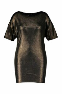 Womens Plus Metallic Oversized T-Shirt Dress - metallics - 20, Metallics
