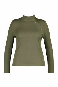 Womens Plus Gold Button Rib High Neck Jumper - green - 20, Green