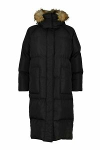 Womens Tall Faux Fur Hood Longline Padded Coat - black - 16, Black