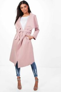Womens Belted Waterfall Coat - pink - M/L, Pink