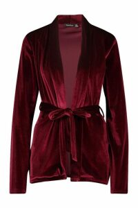 Womens Tall Belted Velvet Blazer - red - 18, Red