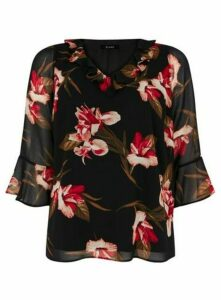 Black Floral Print Frill Neck Top, Black