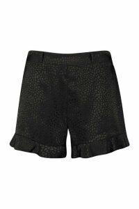 Womens Satin Jacquard Frill Shorts - black - 8, Black
