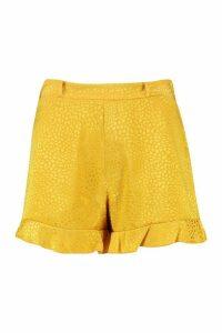 Womens Jacquard Frill Shorts - yellow - 16, Yellow