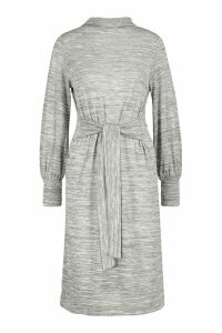 Womens Brushed Belted Midi Shift Dress - grey - 16, Grey